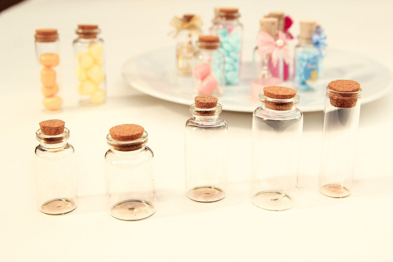 12 pcs-Glass Cork Bottles (Multiple Sizes)