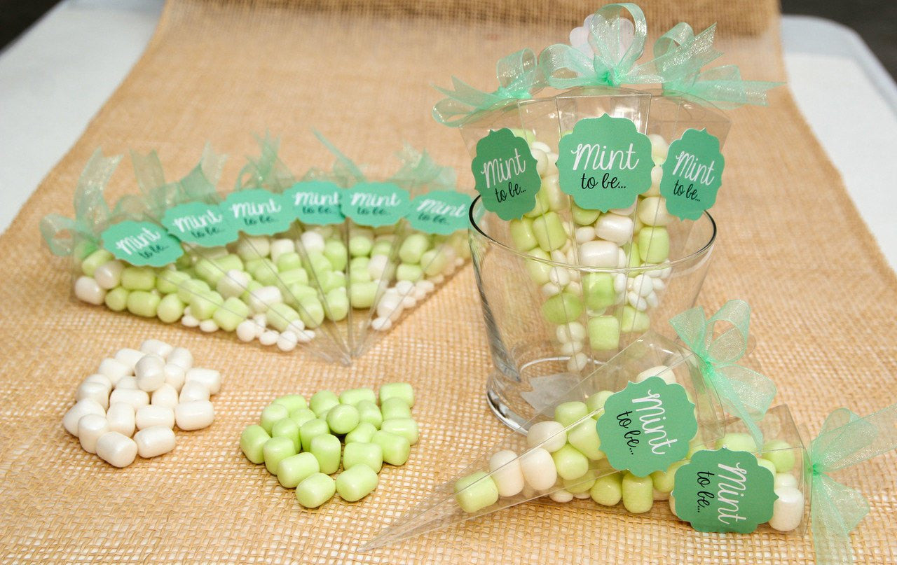 """Mint to be.."" Clear Cone Box with Marshmallow Candies"