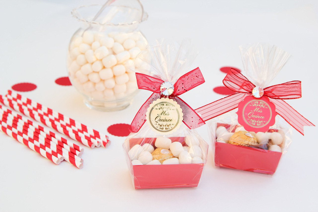 Quinceanera Tray Favor Boxes with Candy