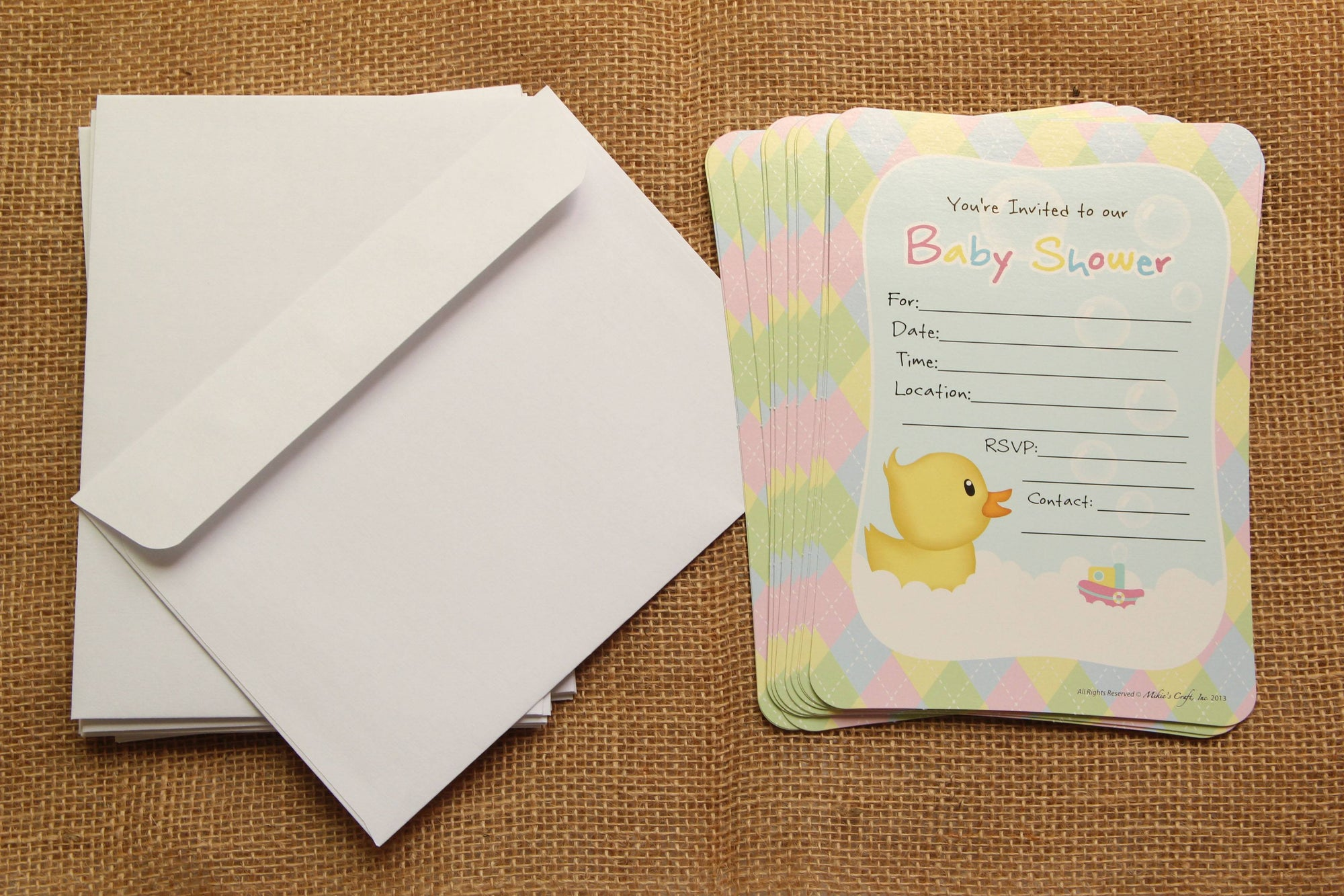 Duck Baby Shower Invitation with Envelop (12 pieces) - Americasfavors
