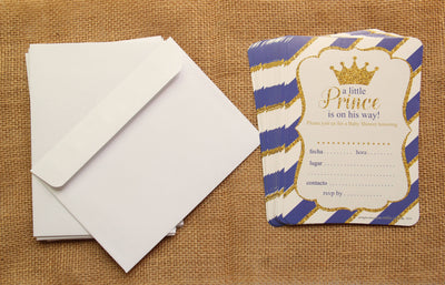 Prince Baby Shower Invitation with Envelop (12 pieces) - Americasfavors