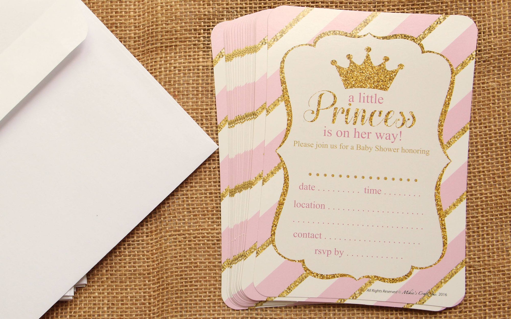 Princess Baby Shower Invitation with Envelop (Little Princess) (12 pieces) - Americasfavors
