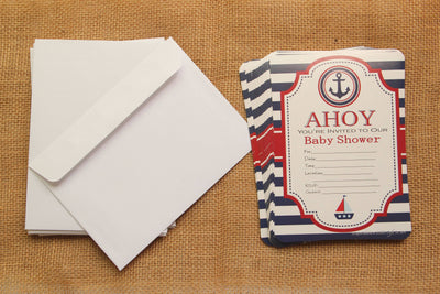 Nautical Baby Shower Invitation (Ahoy!) with Envelop (12 pieces) - Americasfavors