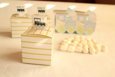 "2.5"" White Square Train Favor Boxes with Green Stripes (12 pieces)"