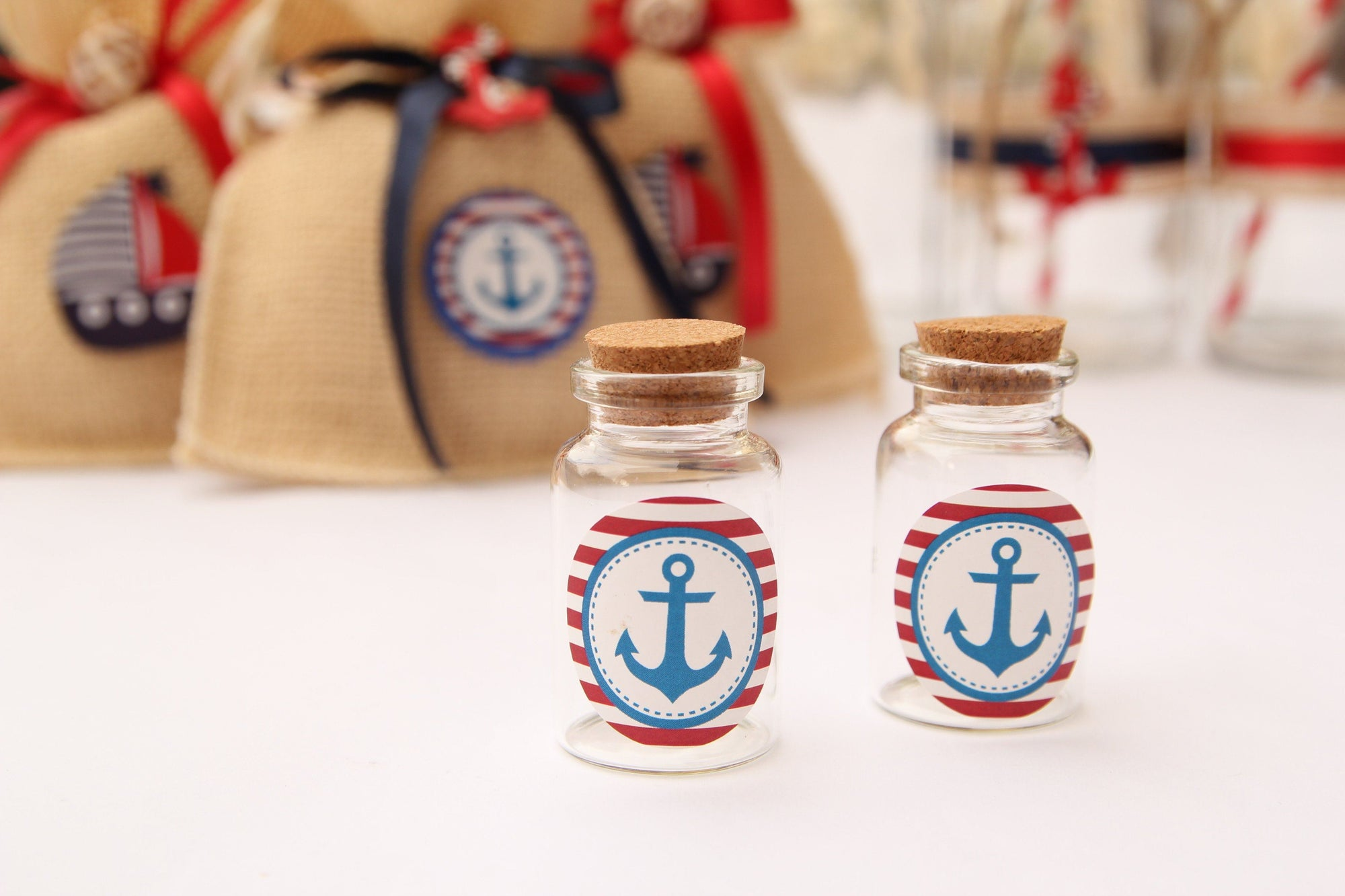 Nautical Anchor Stickers with Red & White Stripes