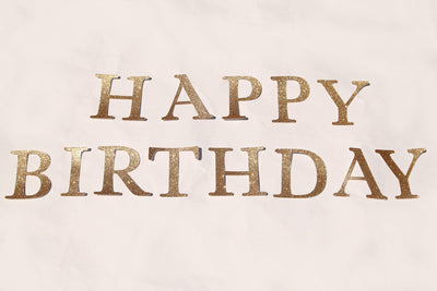 Happy Birthday Gold Glittered Letter Diecuts (1 set)
