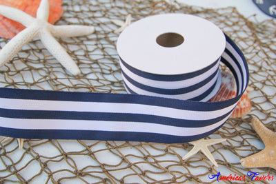 "1.5"" Striped Navy & White Ribbon"
