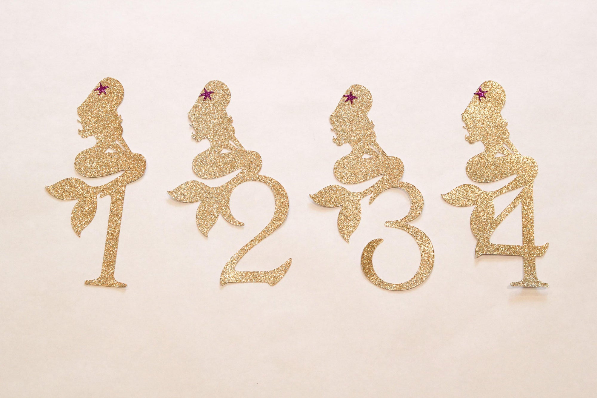Gold Glittered Mermaid Number Die-cuts with Fuchsia Star 1-18 (1 piece)