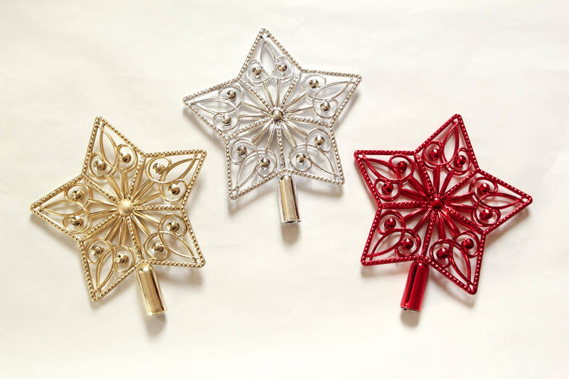 Christmas Tree Stars Gold Silver Red 1 Piece