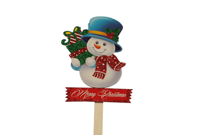 "Christmas Snowman with Presents ""Merry Christmas"" Pick"