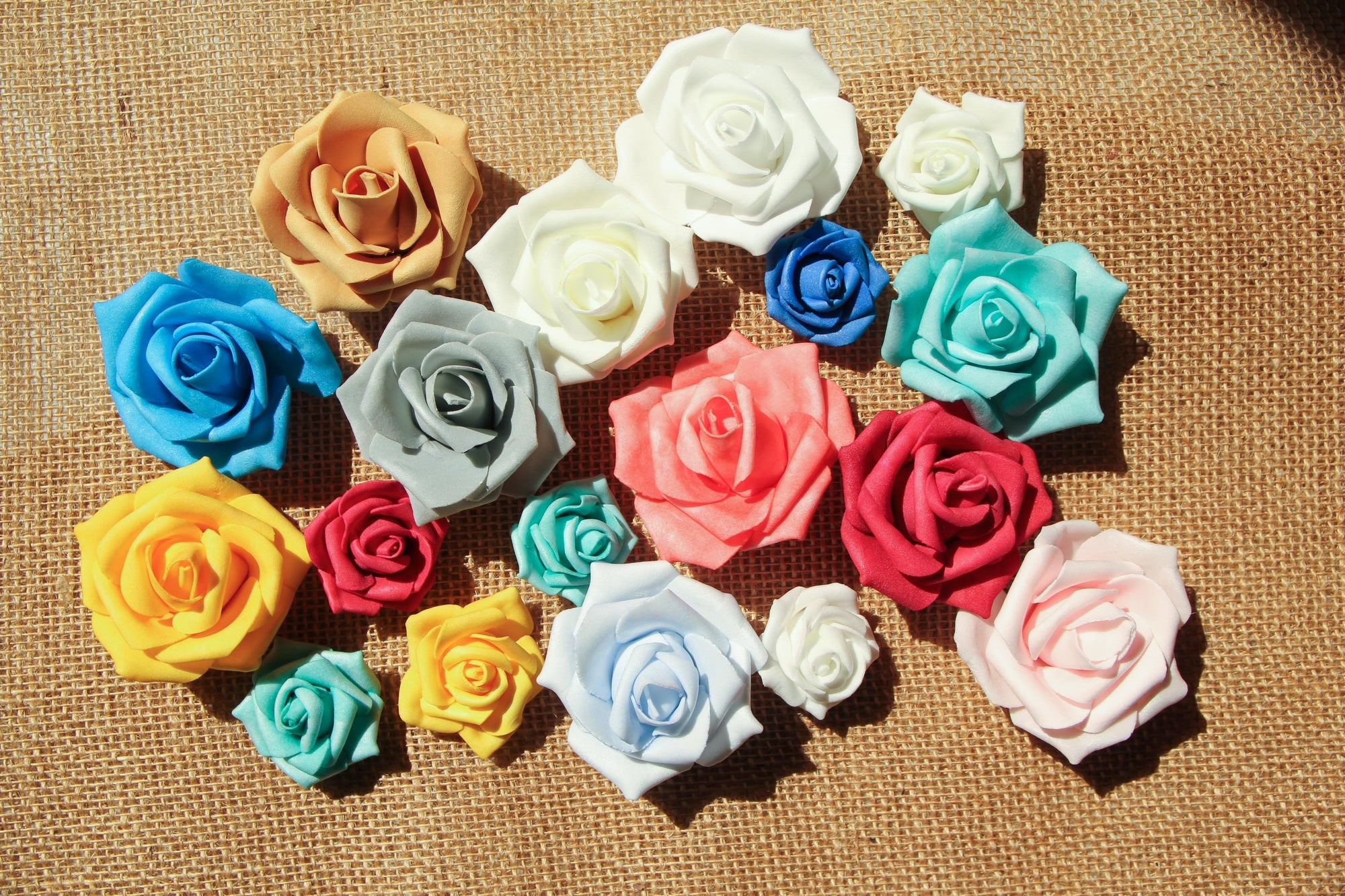 Small Foam Flowers Without Stem (12 pieces)