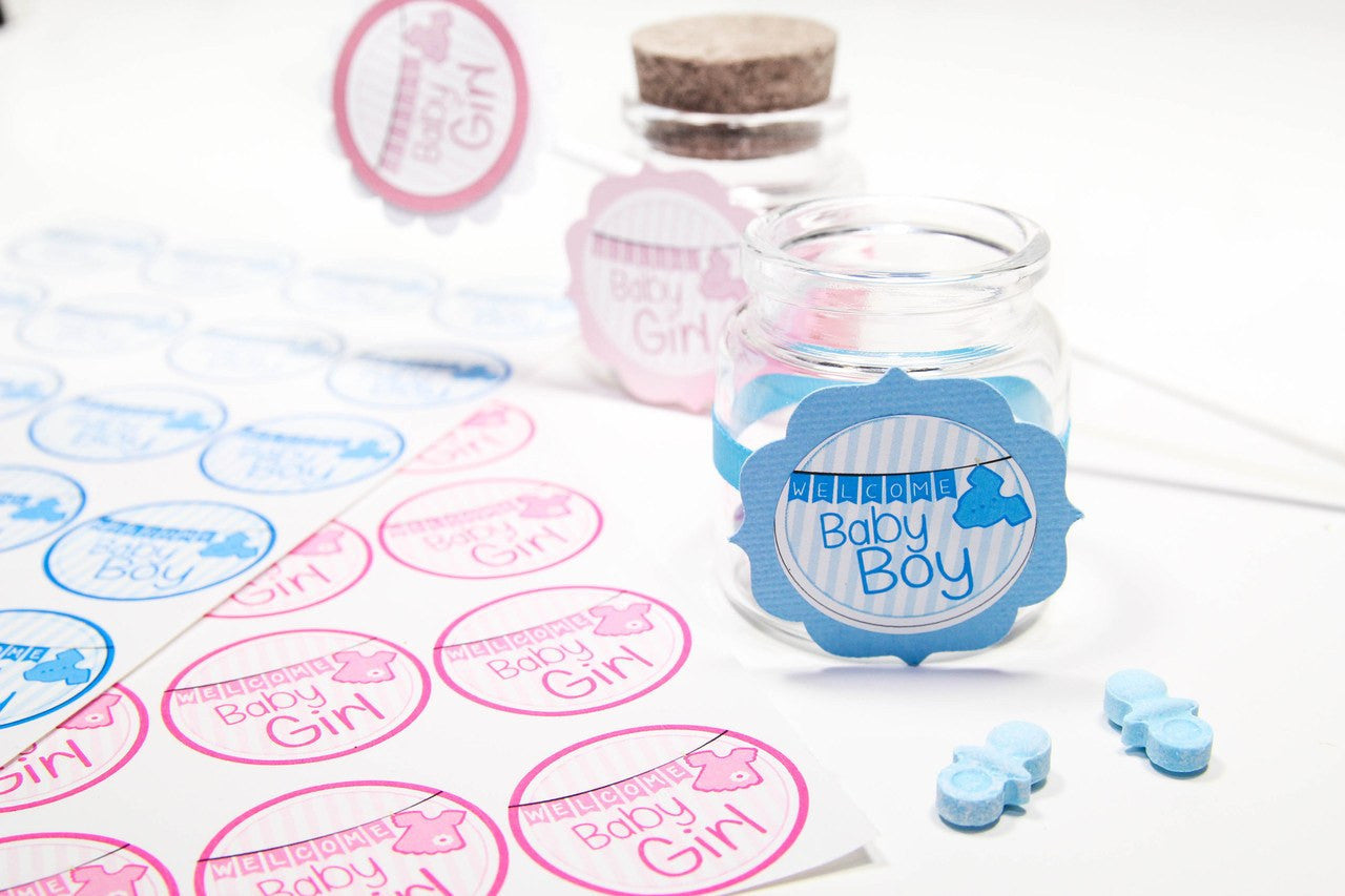 24 pcs- WELCOME BABY GIRL and WELCOME BABY BOY stickers