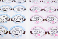 "24 pcs-""OH BOY!!"" and ""BABY GIRL"" Stickers"