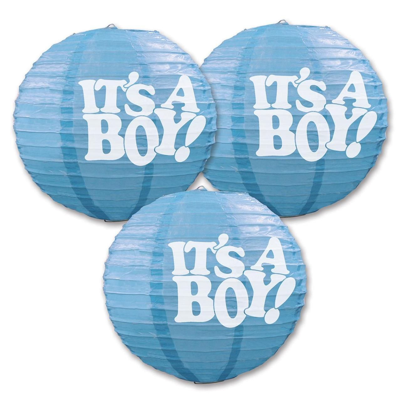 1 Ct- It's a Boy Lanterns with Aluminum Base (Blue)