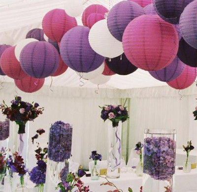 "12"" and 14"" Paper Lanterns with Metal Frame - Americasfavors"