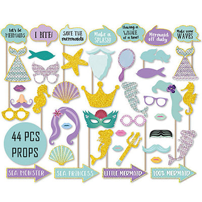 44 Assorted Mermaid Photo Party Props