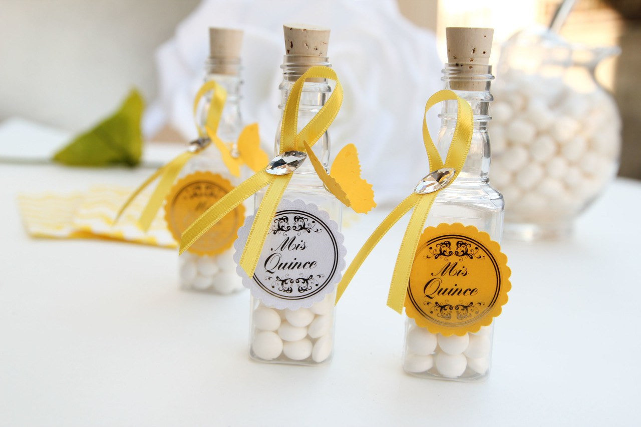 Mis Quinces Butterfly Rectangular Bottles