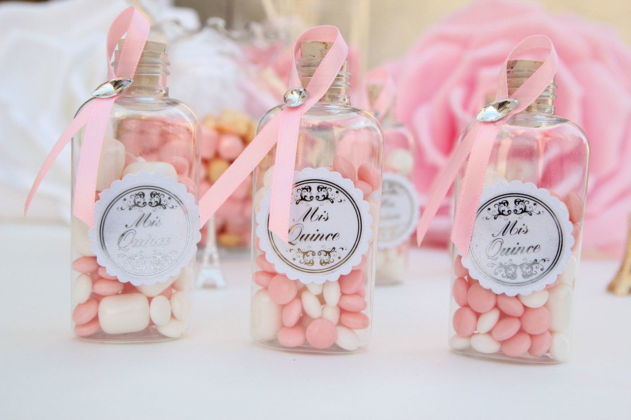 Mis Quinces Candy Favor Flask Bottles - Americasfavors