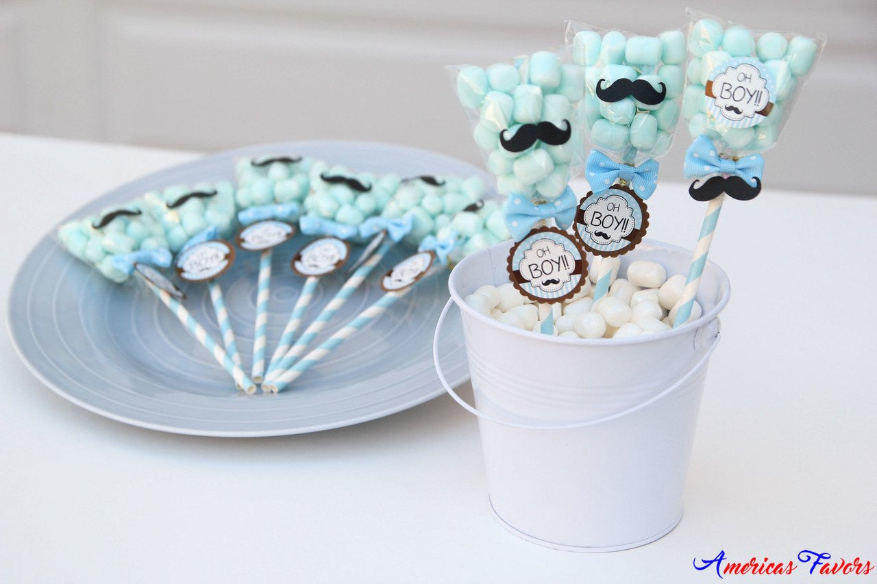 Baby Shower Mustache Candy Pop Party Favors