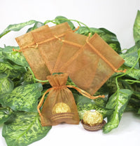 "12 pcs-Old Gold Organza Pouches 3""x 4"""