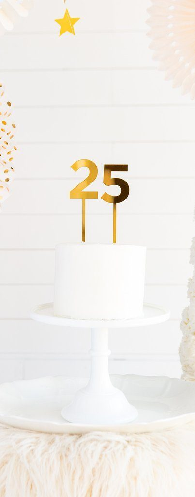 Gold Acrylic Cake Topper Numbers 0 thru 9 (1 Piece)