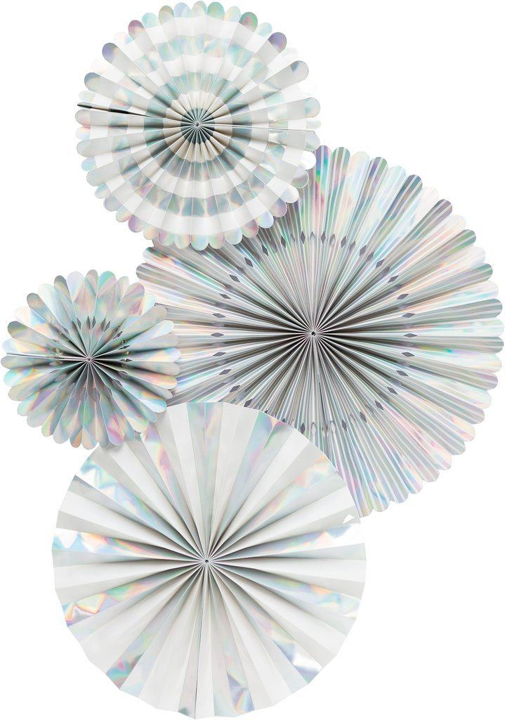 4 ct. - Party Paper Fans (Holographic)