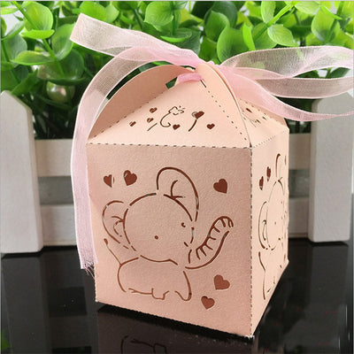 Elephant Baby Shower Laser Cut Favors Box  With Ribbon 3 Colors (10 pieces) - Americasfavors