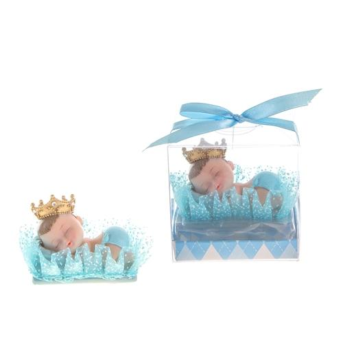 Sleeping Crown Baby Boy on Pillow Poly Resin in Favor/Gift Box