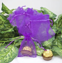 "12 pcs-Purple Organza Pouches 3""x 4"""