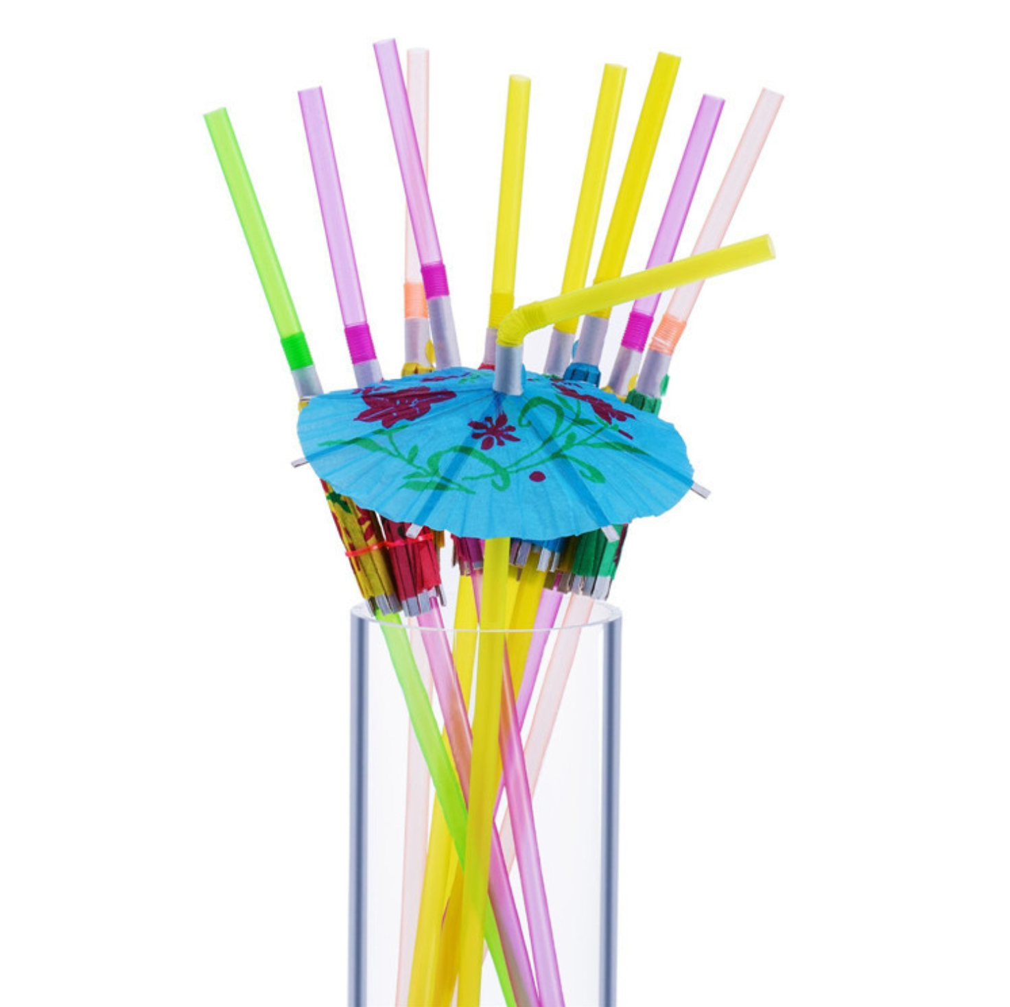 50 Umbrella Parasol Drinking Straws for Hawaiian Beach & Luau