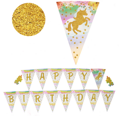 """Happy Birthday"" Unicorn Pendant with Gold Glittered Banner"