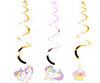Glittered Unicorn Swirl Hanging Decorations Gold/Lavender (6 pcs)