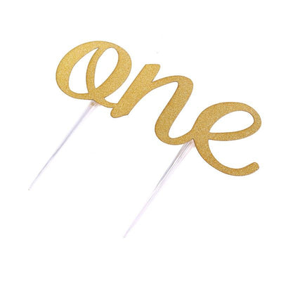 1 Ct- Gold Handmade 1st (One) First Birthday Cake Topper Decoration