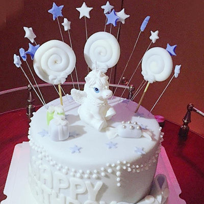 White Magical Unicorn Birthday Cake Topper Candle (1 piece)