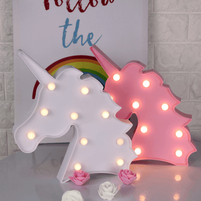 LED Unicorn Head Night Light for Walls, Backdrops, Tables (White, Yellow, Pink, Blue) (Battery Operated)