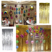 3.2 ft x 9.8 ft Metallic Tinsel Foil Fringe Curtains for Party Photo Backdrop (1 pc)