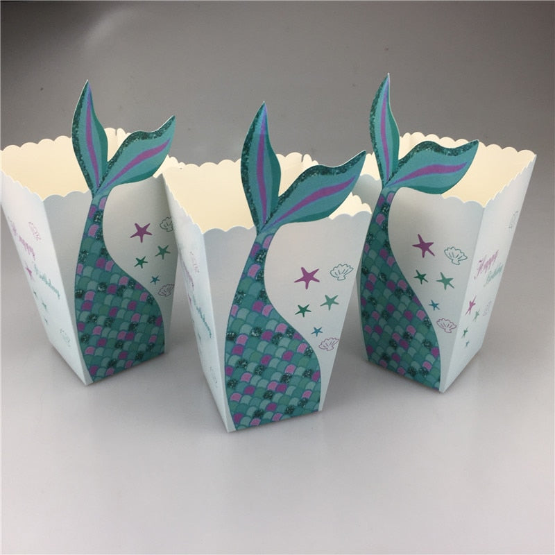 Mermaid Under The Sea Popcorn Boxes Party Favors Boxes (12 pcs)