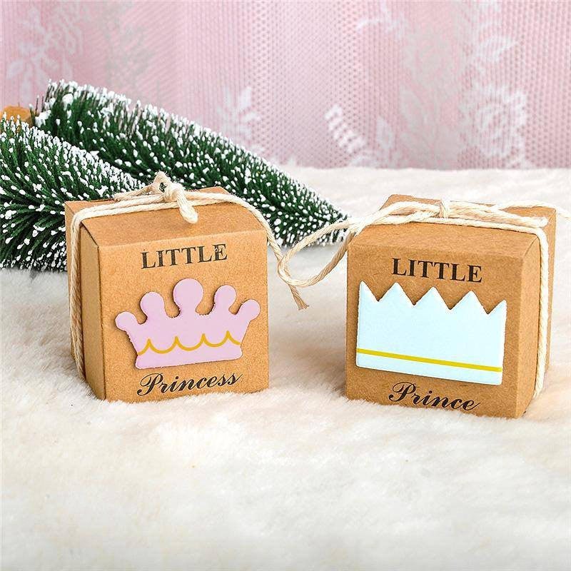 "2"" x 2"" Princess & Prince Favor Boxes with Jute Rope (12 pieces) - Americasfavors"