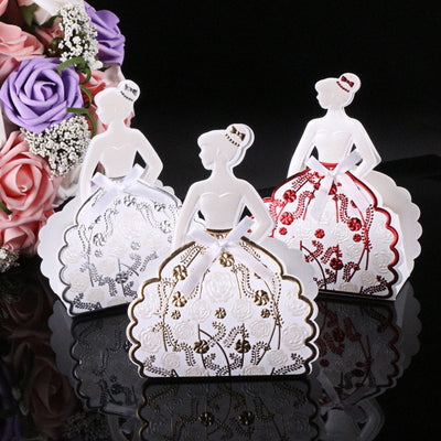 Silver & Gold Quinceanera Silhouette Favor Dress Boxes (12 pieces) - Americasfavors