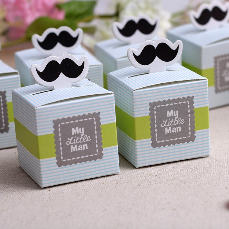 "2"" x 2"" Cute My little Man Mustache Baby Shower Favors Box (12 pieces) - Americasfavors"