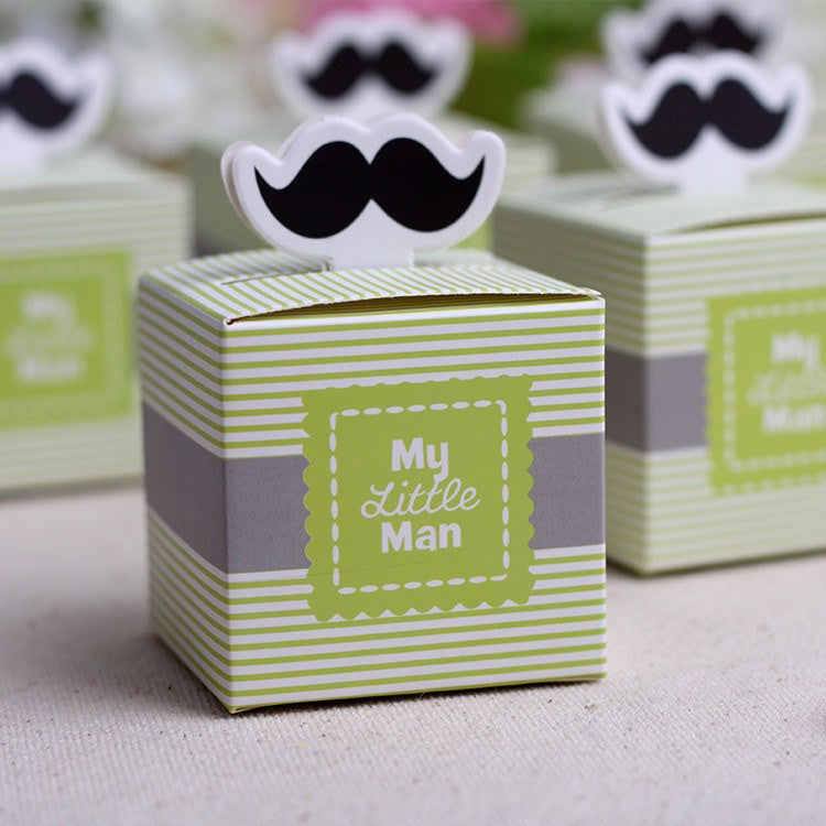 X 2 Cute My Little Man Mustache Baby Shower Favors Box 12 Pieces