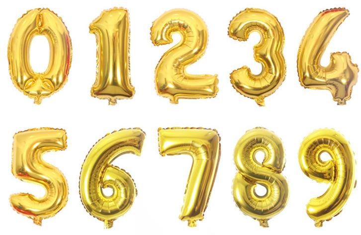 "16"" & 40"" Celebration Numbers 1 thru 9 Aluminum Foil Gold Party Balloon Decorations"