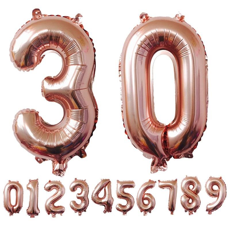 "1 Ct- 40"" Rose Gold Number Foil Helium Balloons for Backdrops"