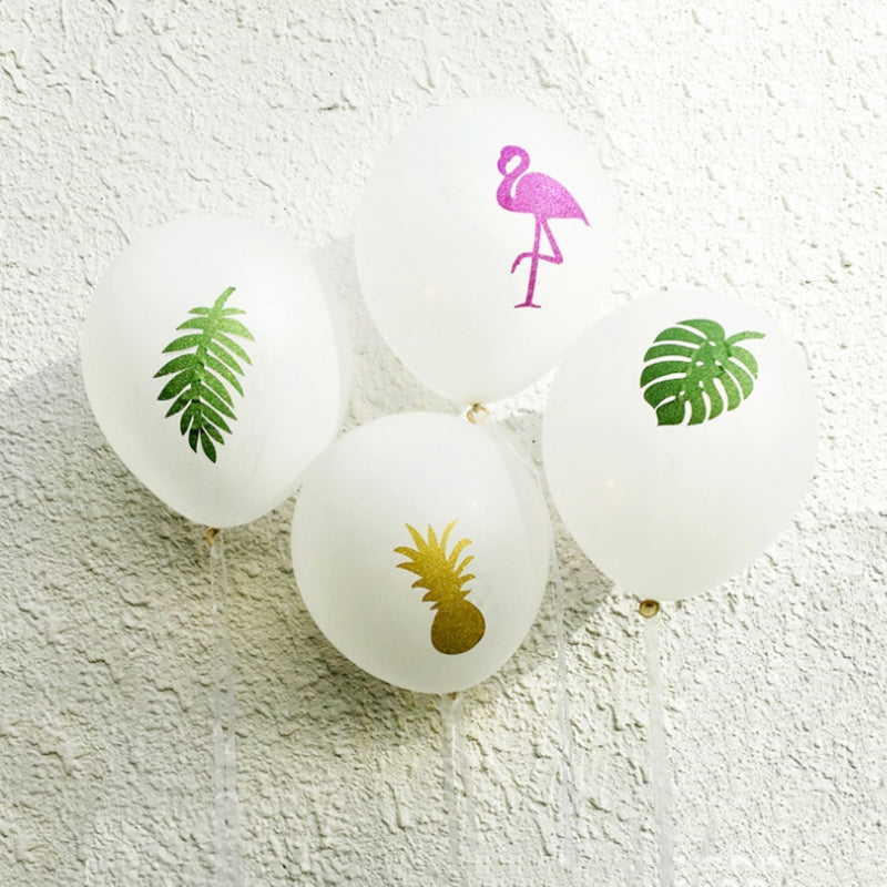 12 pcs- Tropical/ Hawaiian Flamingo & Tropical Party Balloons