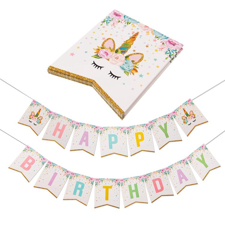 Pastel Unicorn Happy Birthday Flag Banner With Gold Glitter Tips