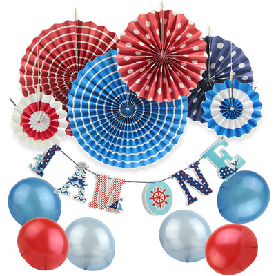11 Nautical Party Decoration Kit with I AM ONE Banner Balloons, PaperFans