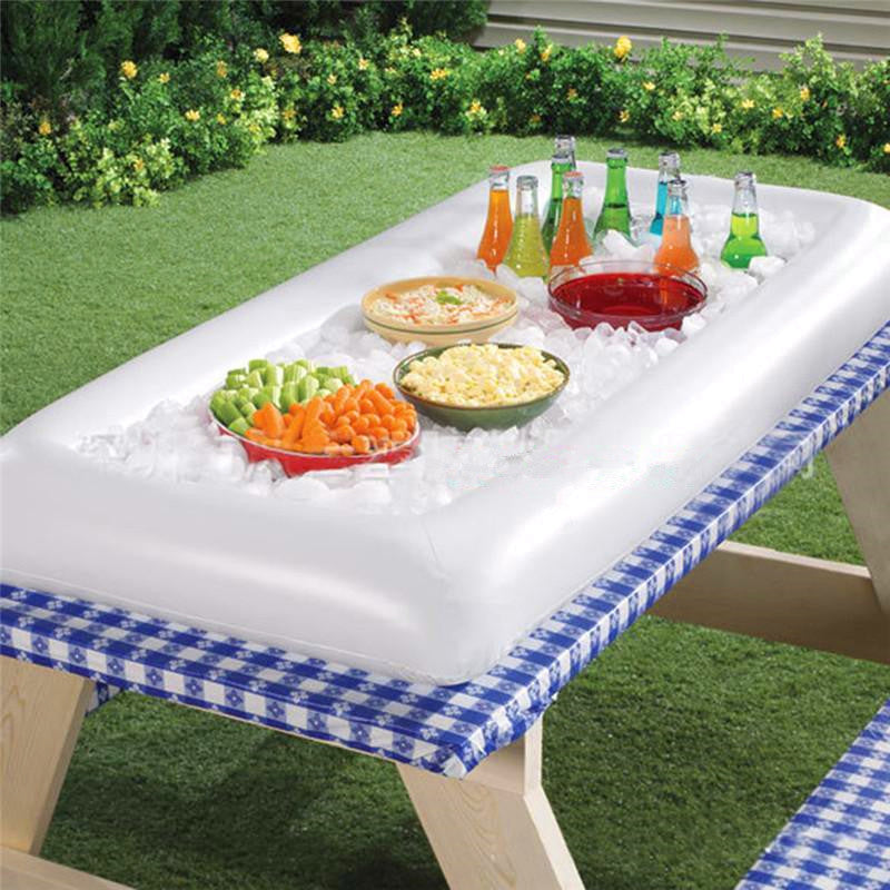 Inflatable Serving/Salad Bar Tray Food Drink Holder -- BBQ Picnic Pool Party Buffet Luau Cooler,with a drain plug
