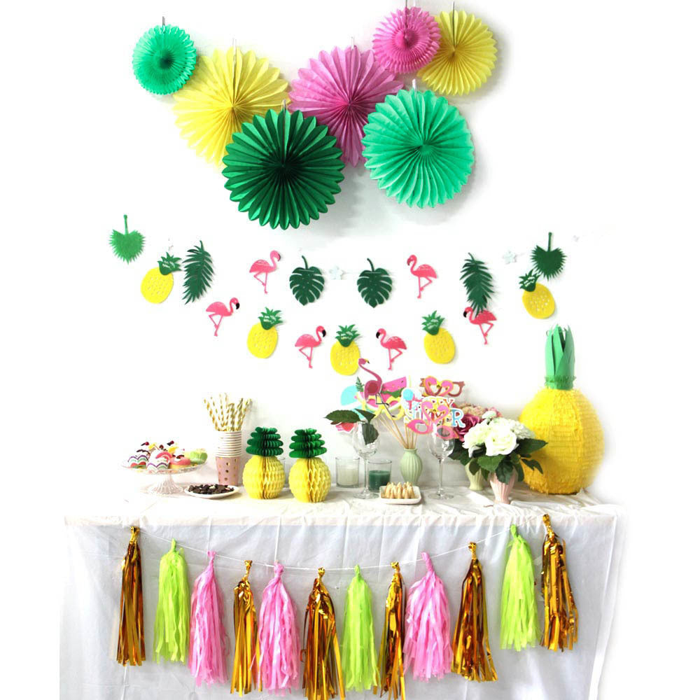 Tropical/Hawaiian/Luau Party Banner, Cupcake Toppers, Fans, Photo Booth Props & Tassels (31 pieces Set)