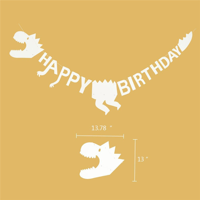 White Dinosaur Happy Birthday Party Banner Decoration Americasfavors