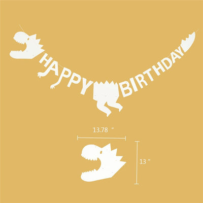 White Dinosaur Happy Birthday Party Banner Decoration